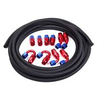 An -6 Nylon Stainless Steel Braided Fuel Gas Line Fittings Hose End Red-blue Kit