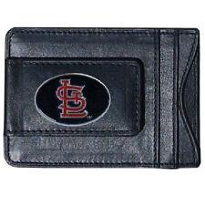 St. Louis Cardinals Fine Leather Money Clip Wallet (NEW) Black Red MLB Saint St