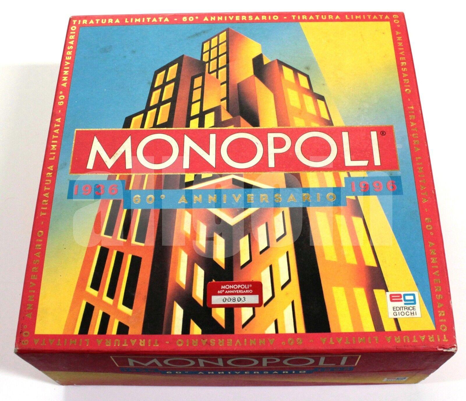 MONOPOLI MONOPOLY Ed. Limitata 60° Anniversario 1936-1996 SCATOLA COMPLETA RARA