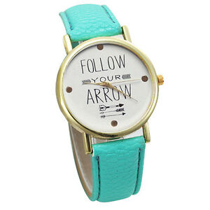 Leather-Band-Analog-Quartz-Vogue-Wrist-Watches-Green-Band-Fit-A2