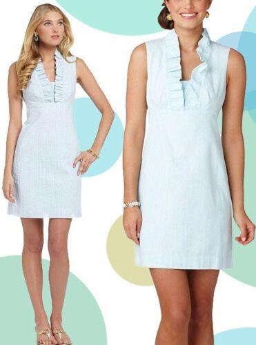 $198 Lilly Pulitzer Adeline Shorely Blue Lucky Seersucker Stripe Shift Dress