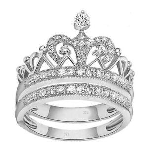 2-pc-real-925-sterling-silver-Women-039-s-Weddings-crown-princess-ring-Sz-4-11-5