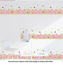 Butterfly Flower Wall Stickers Art Decal Paper Wall Border Home Decor
