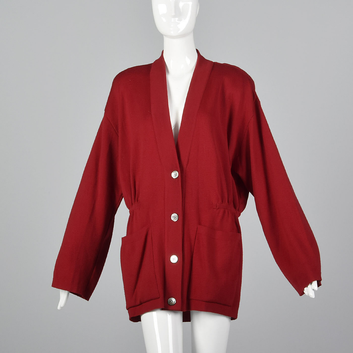 89afdd82ba044 Oversized 1980s L Red Sleeve VTG 80s Separates Wool Long Cardigan ...