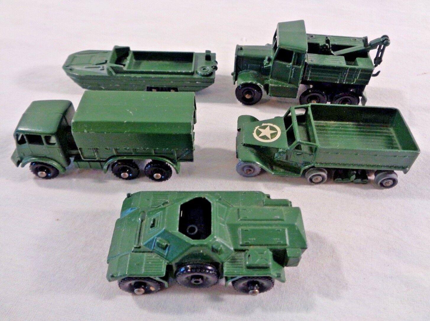 Vintage Lesney Matchbox Diecast Military Lot Of 5 Vehicles No. 49 55 61 62 64