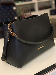 NWT-Michael-Kors-Sofia-Large-Leather-East-West-Satchel-Crossbody-Bag-In-Black