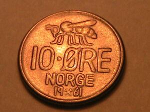 1961-NORWAY-10-Ore-Choice-BU-Lustrous-Light-Toned-Ten-Ore-Norwegian-Norge-Coin
