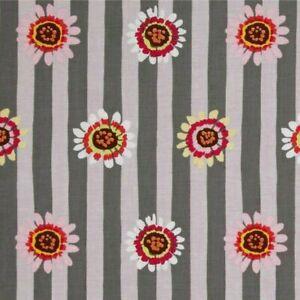 59-034-Remnant-Kaffe-Fassett-Regency-Daisy-Stripe-PWGP146-Grey-Cotton-Fabric