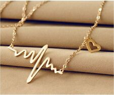 """35mm Rose Gold Plated Titanium Love Heart Beat Pendant Necklace Chain 16""""-18"""""""