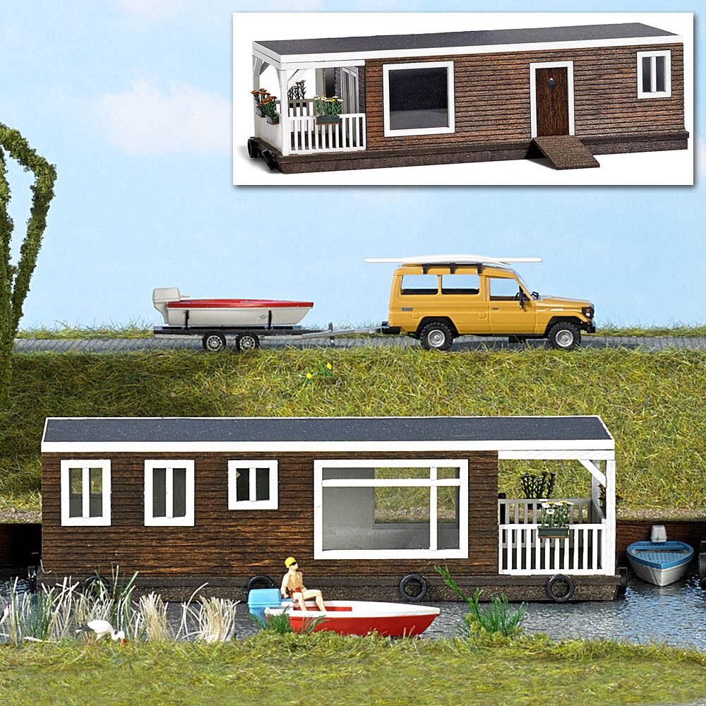 Busch 1440, Casa Galleggiante Marrone, H0 Mondi in Miniatura Kit 1:87
