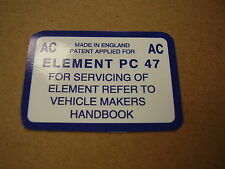 Mk1 Escort Mexico Air Box AC Service Sticker