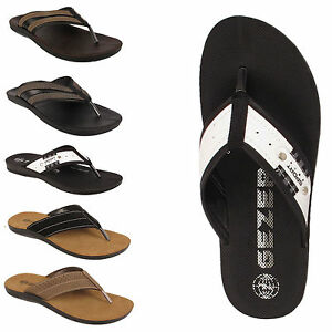 b052cef7ba3 Mens Gezer Togo Brown Flip Flop Sandal Pool Shoes Size 6 7 8 9 10 11 ...
