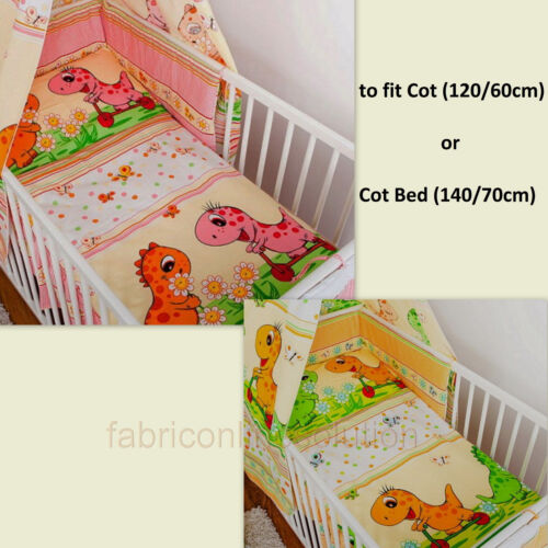 3 pcs BeddingSet Bumper/DuvetCover/Pillowcase to fit Cot or Cot Bed 100% COTTON!