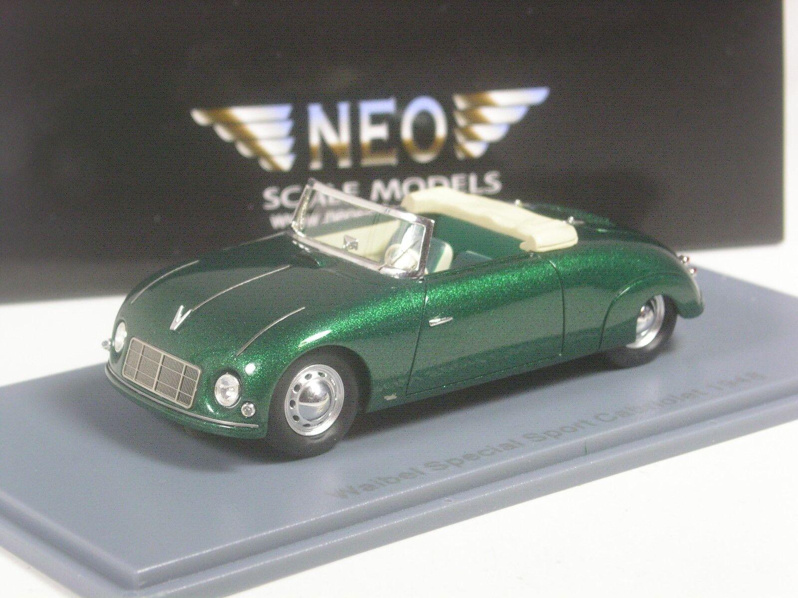 CLASSE  Neo scale models Porsche Porsche Porsche Waibel Cabriolet 1948 vertmetallic en 1 43 dans neuf dans sa boîte f627b8