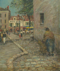 Impressionist-20th-Century-Oil-French-Street-Scene