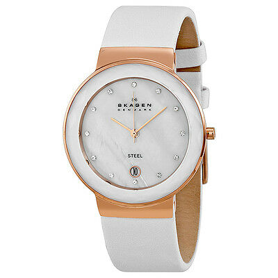 Skagen Mother of Pearl Dial White Leather Ladies Watch SKW2034