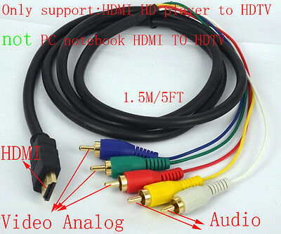 HDMI to 5 RCA Male Audio Video Component Convert Cable For HDTV TV Male Hdmi Cable Wiring Diagram on