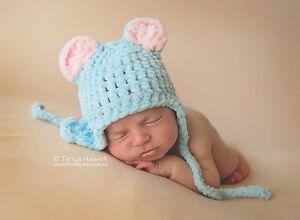 Hand Crochet Knitted Baby Hat Teddy Bear Chunky Photo Prop Boy SOFT ... 0335a2748ec