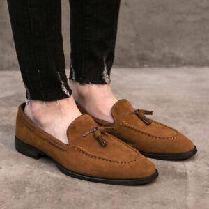 Men Tassel Loafers British Style Suede