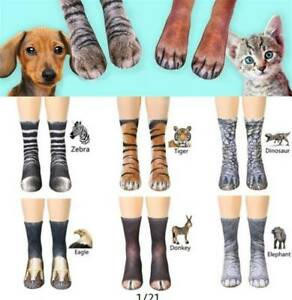 Novelty Funny Unisex Adult Kids Elastic Sock Animal Paw Feet Crew Printed Sock