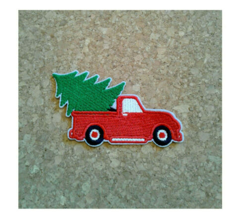 ChristmasTree Red Truck Embroidered Iron On Applique Patch Crafts