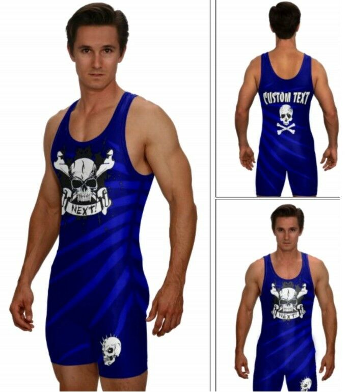 Powerlifting singlet, skull and crossbones, includes custom text