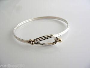 c74bc8c3c Tiffany & Co Silver 18K Gold Hook & Eye Loop Bangle Bracelet Rare ...