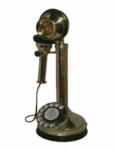 Vintage-Old-Candle-Stick-Brass-Telephone-Antique-Early-20th-Century-GEs