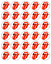 30 ROLLING STONES RED TONGUE Edible Cupcake Toppers Wafer Paper Cake Decoration