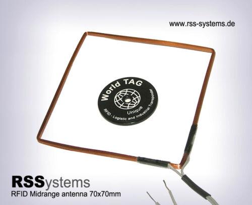 L=0,5m RFID HIGH QUALITY 125KHz MIDRANGE ANTENNA MRH70A 70x70x2,5mm