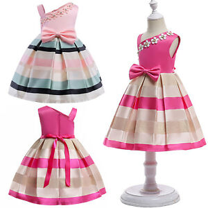 67a6680f42d1 Kids Baby Girls Striped Bowknot Princess Dress Party Wedding Pageant ...