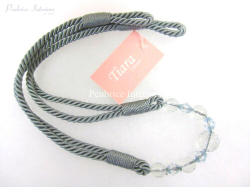 One Tiara Curtain Rope Tieback Clear bead Style Tie Back 6 Colours 78cm