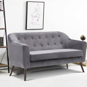 Details about Luxury Grey Velvet Fabric 2 Seater Sofa Armchair Tub Sofa Chair Set Couch Settee