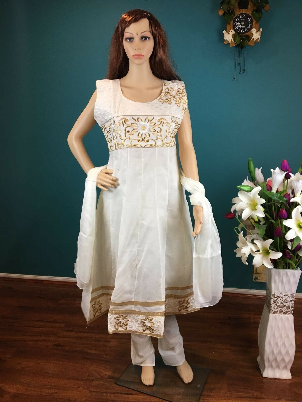 "40"" M Salwar Kameez Bollywood Indian Diwali Cotton Dress White Cream gold HL49A"