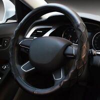 Black Universal Genuine Leather Embossing Car Steering Wheel Cover Interior 38CM