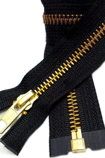 Black, 26 #10 Solid Brass Heavy Separating Metal Zipper by YKK Brand