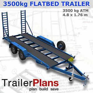 image is loading trailer-plans-3500kg-flatbed-car-trailer-plans-4800x1760mm-
