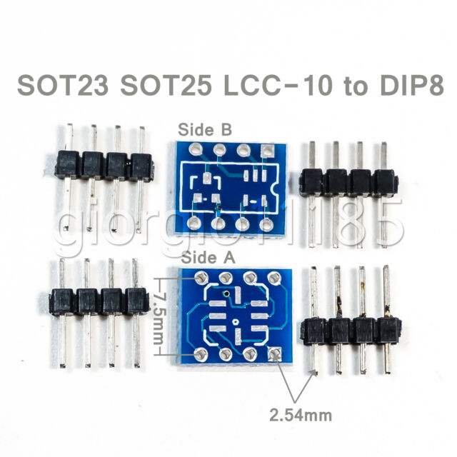 5pcs SOT23 SOT25 LCC-8 To DIP8 Adapter PCB Convertor