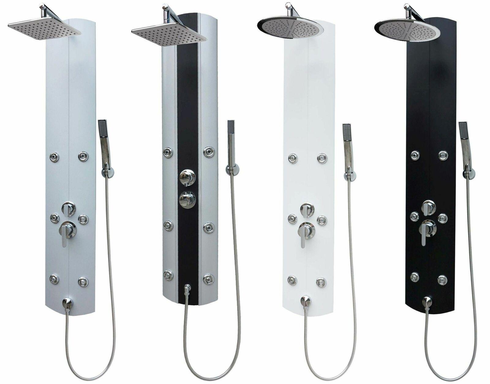 Duschpaneel Regendusche Duscharmatur Duschset Dusche Duschsäule Thermostat Weiß