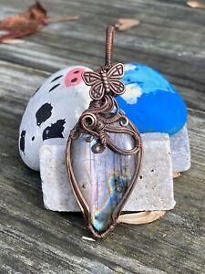 Beautiful wire wrapped pinkpurple labradorite pendant