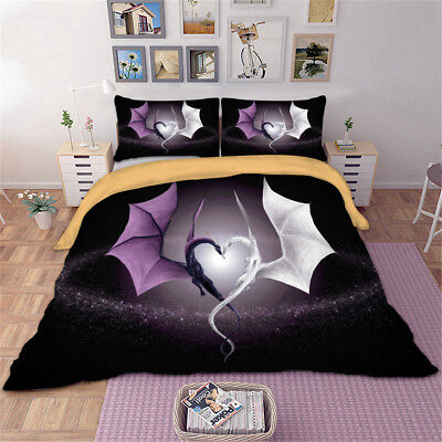 3d Purple And White Dragon Bedding Set, Dragon Bedding Sets Queen