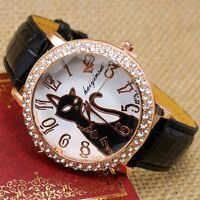 Lovely Cat Animal Crystal Quartz Bracelet Wrist Watch Leather Band Women Girl