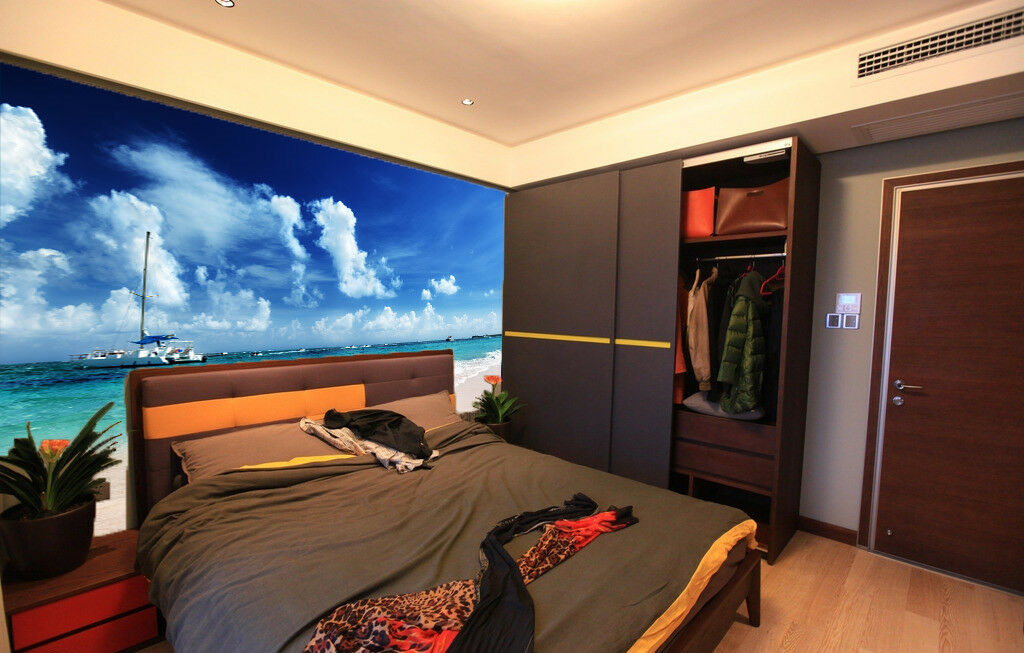 3D Beach Clouds Ship 7 Wall Paper Murals Wall Print Wall Wallpaper Mural AU Kyra