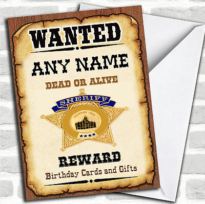 c448; Large Personalised Birthday card; Custom made for any name; Police Sheriff