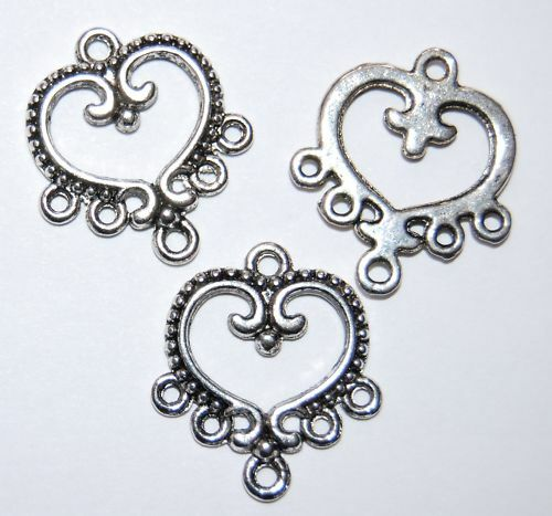 14 x Decorative Earring Connector Chandelier ~ 21mm ~ Antiqued Silver Plate
