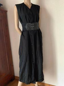 Hemdblusenkleid-von-Riani-Midikleid-schwarz-Baumwolle-Polyamid-Satin-40-42