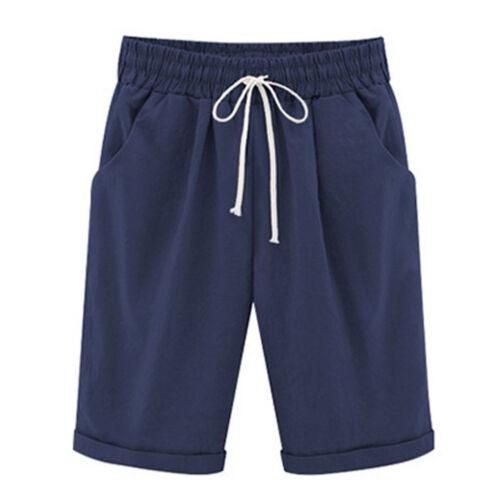 Women/'s Drawstring Linen Summer Casual Shorts Keen Long Pants High Waist Trouser