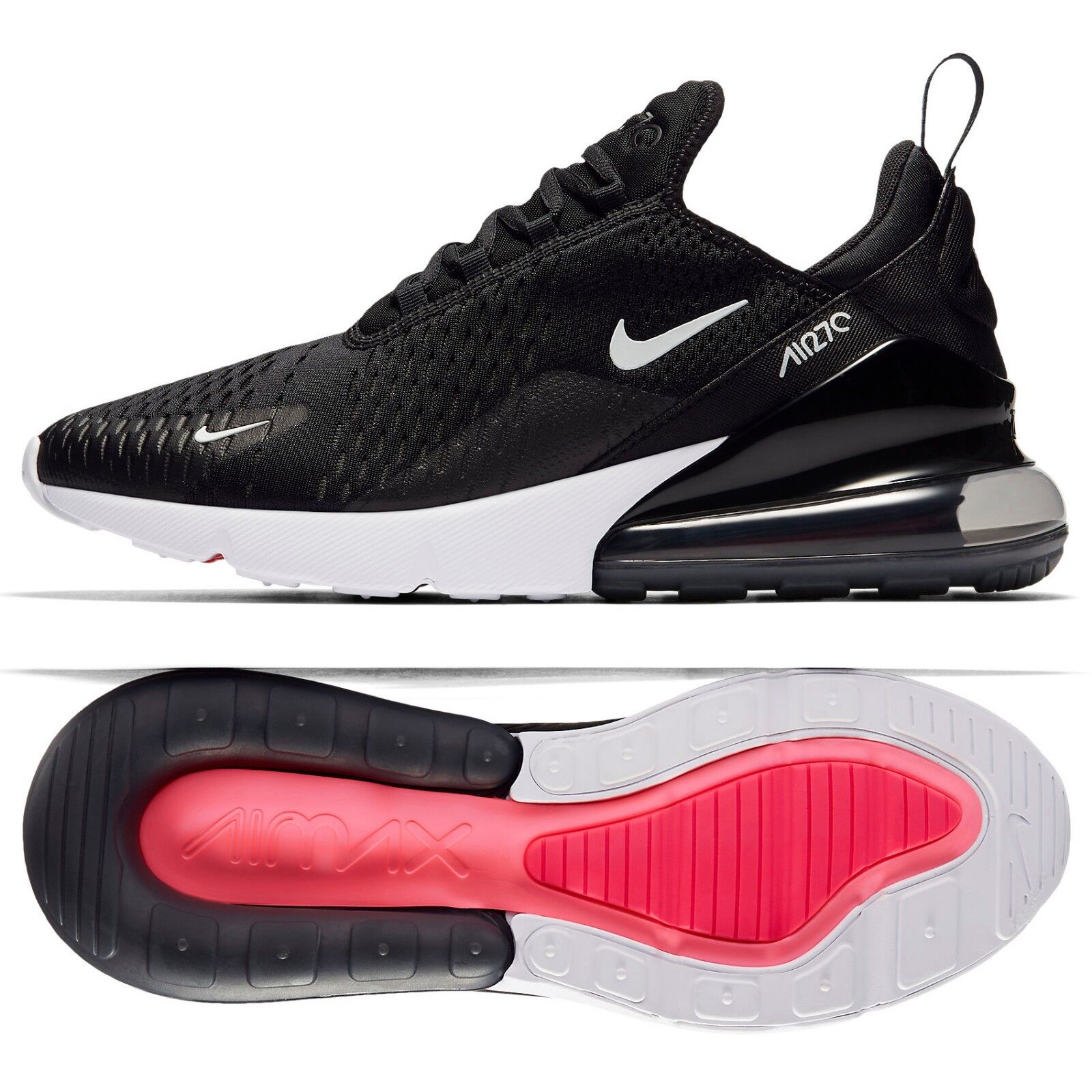 Nike Air Max 270 AH8050-002 Black Black/Anthracite/White/Red Men's Shoes Sz 12