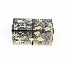 Mother of Pearl Korean Vintage Traditional Jewelry Box Handmade Blue Duck
