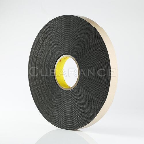 """3M 4496B 1/"""" x 36 Yards Black Double Sided Coated Polyethylene Foam Adhesive Tape"""
